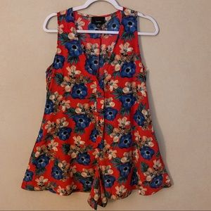 LUMIERE red floral button front sleeveless romper
